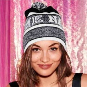 VICTORIAS SECRET PINK NATION BLACK WHITE KNIT HAT